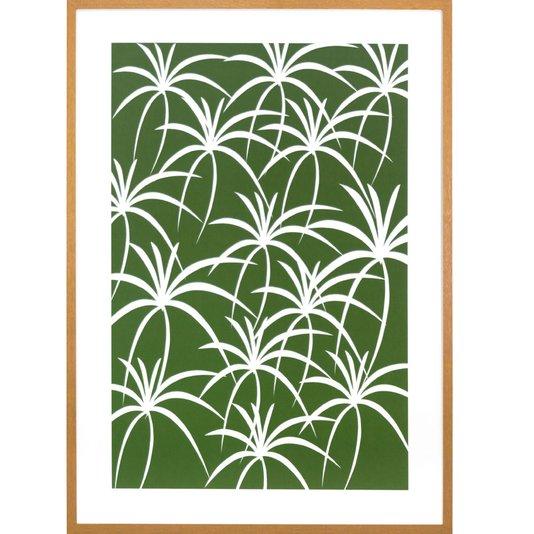 Quadro Decorativo Floral Verde com Moldura Marrom 50x70 cm