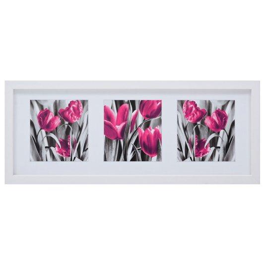 Quadro Decorativo Flores Roxas 100x40cm
