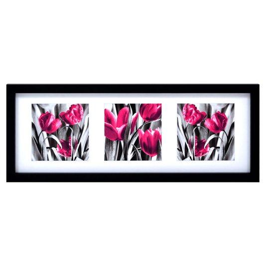 Quadro Decorativo Flores Roxas 106x40cm DP062