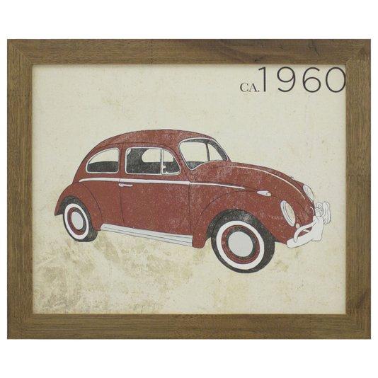Quadro Decorativo Fusca Ano 1960 Vermelho 40x30cm