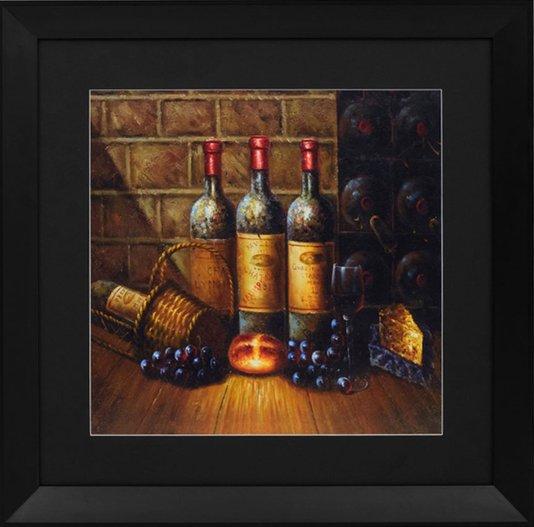 Quadro Decorativo Garrafas de Vinho Adega 70x70cm