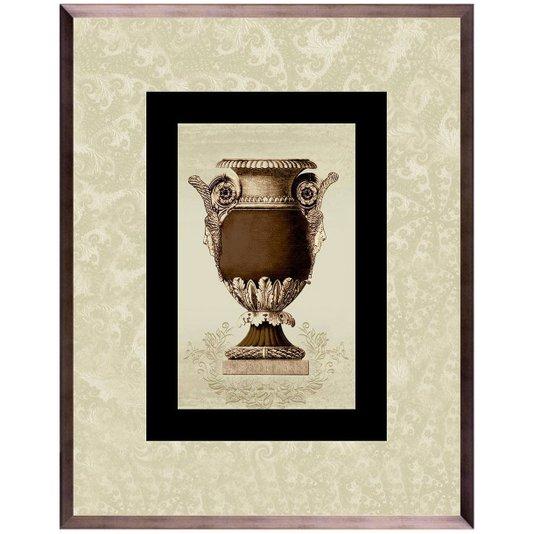 Quadro Grande com Moldura na Cor Bronze Ânfora Marrom 75x95cm