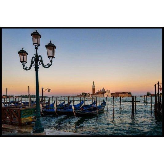 Quadro Decorativo Grande com Moldura Preta Gôndolas em Veneza 150x100cm