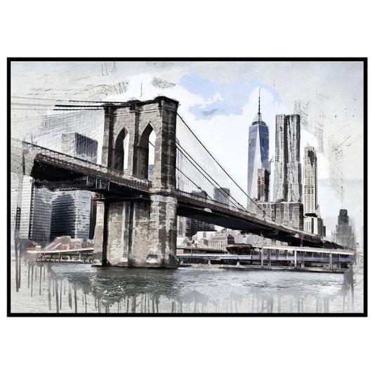 Quadro Decorativo Grande com Moldura Preta Ilustração Ponte do Brooklyn 140x100cm
