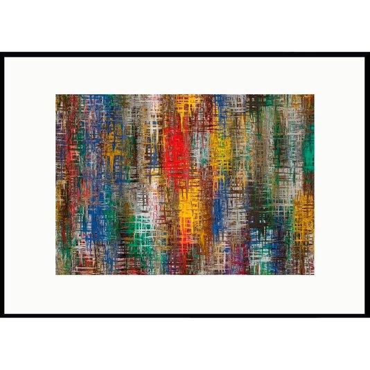 Quadro Decorativo Grande com Moldura Preta Malhas Coloridas 140x100 cm