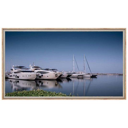 Quadro Decorativo Grande Iates Ancorados em Marina 150x80cm