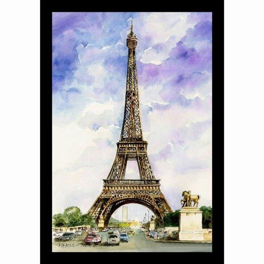 Quadro Decorativo Ilustração Torre Eiffel em Paris 20x30cm