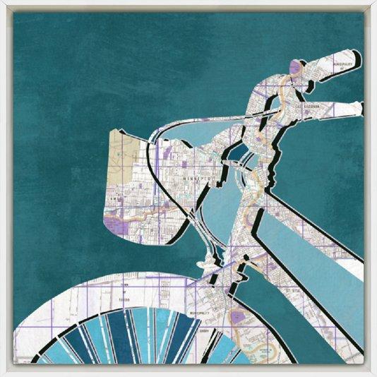 Quadro Decorativo Impressão Digital em Tela Bicicleta e Mapa 40x40cm - DP1291
