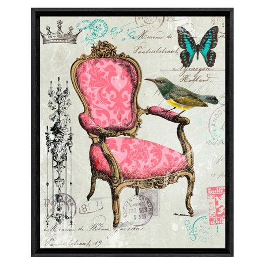 Quadro Decorativo Impressão Digital em Tela Borboleta e Pássaro 40x50cm