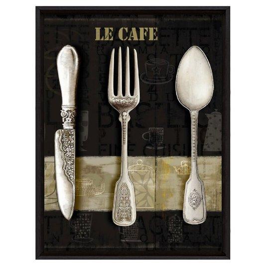 Quadro Decorativo Impressão Digital em Tela Le Cafe Talher de Prata 30x40cm