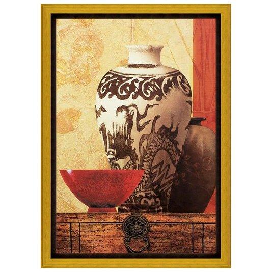 Quadro Decorativo Impressão Digital em Tela Vasos com Pintura Abstrata e Tigela 70x100cm