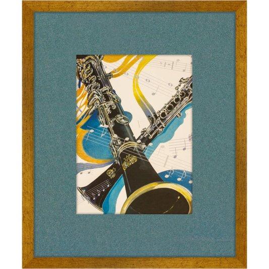 Quadro Decorativo Instrumento Musical Clarinete Preto 50x60cm