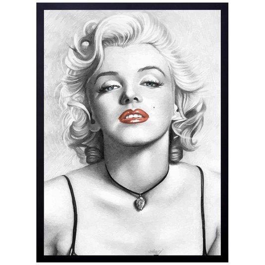 Quadro Decorativo Marilyn Monroe Ilustração Desenho a Lápis 50x70cm