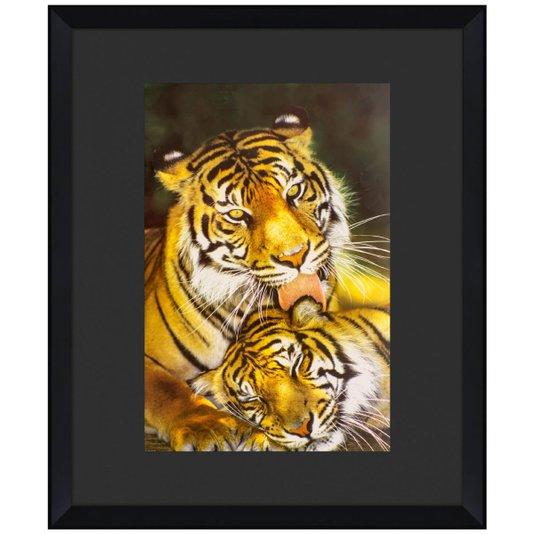 Quadro Decorativo Moldura Chanfrada Alto Padrão Família de Tigres 110x130cm