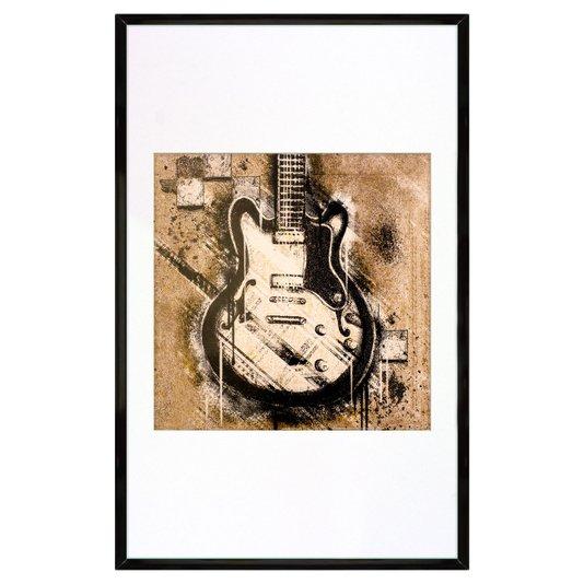 Quadro Decorativo Moldura em Alumínio Instrumento Musical Guitarra 35x60cm