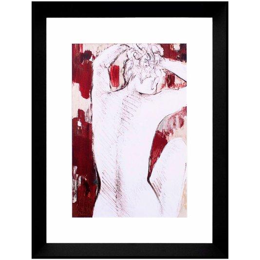 Quadro Decorativo Nu Artístico Mulher de Costas Prendendo o Cabelo 45x60cm