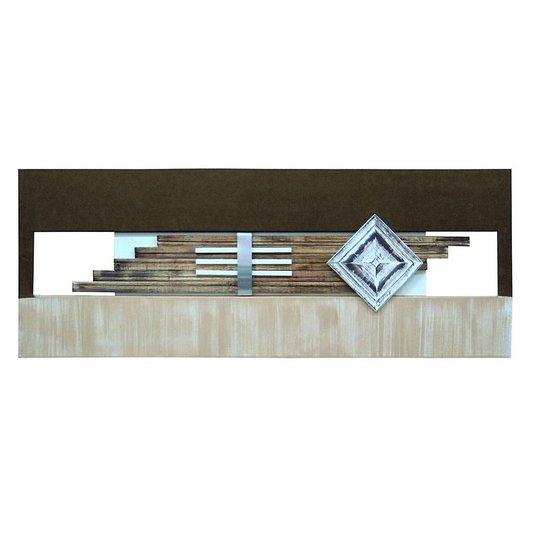 Quadro Decorativo Painel Metal e Madeira Branco e Marrom Café 160x60cm