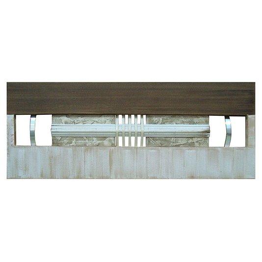 Quadro Decorativo Painel Metal e Madeira Branco e Marrom DPPW024 - 160x60cm