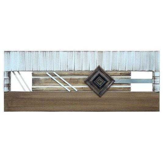 Quadro Decorativo Painel Metal e Madeira Marrom e Branco - 160x60cm