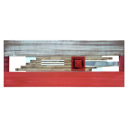 Quadro Decorativo Painel Metal e Madeira Vermelho e Marrom - 160x60cm