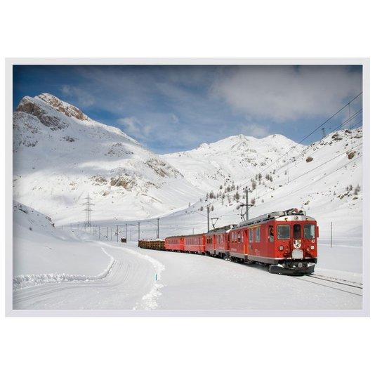 Quadro Decorativo Paisagem Inverno Trem Sobre Neve 140x100cm