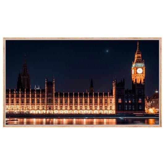Quadro Decorativo Paisagem Londres Parlamento e Big Ben Iluminados 150x80cm