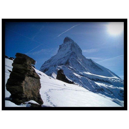 Quadro Decorativo Paisagem Montanha com Neve e Pedras 70x50cm
