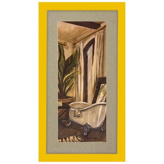 Quadro Decorativo para Lavabo Banheira Moldura Amarela 20x30cm