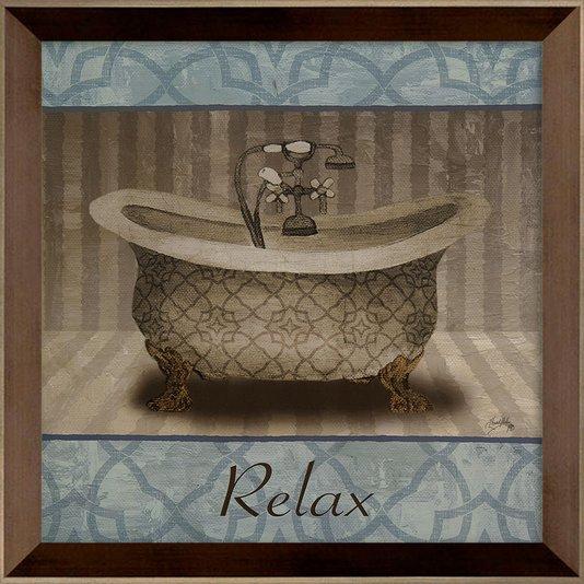 Quadro Decorativo para Lavabo com Moldura Marrom Chanfrada Relax 35x35cm