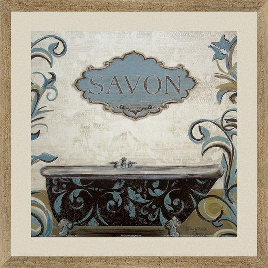 Quadro Decorativo para Lavabo com Moldura na Cor Prata Envelhecida Savon 40x40cm
