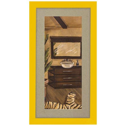 Quadro Decorativo para Lavabo Moldura Amarela 20x30cm
