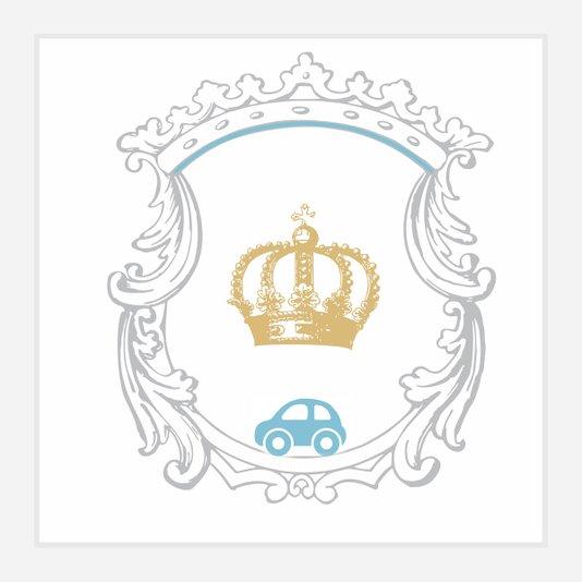 Quadro Decorativo para Quarto de Bebê Menino Coroa Rei 30x30cm