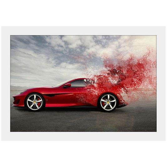 Quadro Decorativo Pequeno Ferrari Portofino Ilustração Moldura Branca 30x20cm