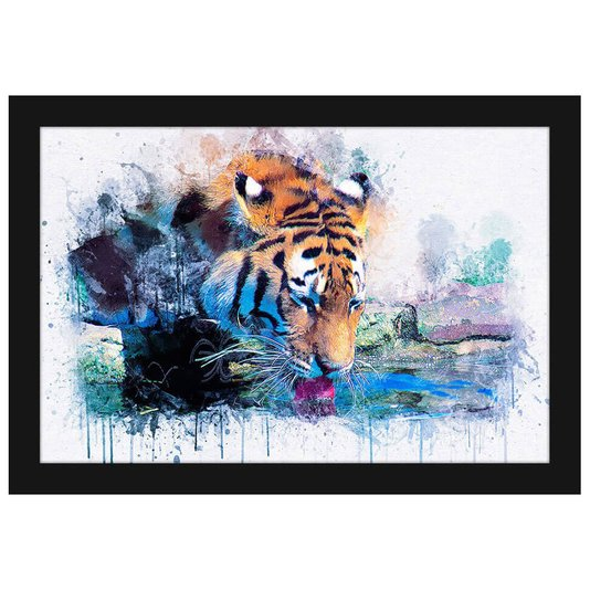 Quadro Decorativo Pequeno Ilustração Tigre Aquarela 30x20cm
