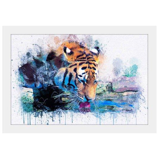Quadro Decorativo Pequeno Ilustração Tigre Aquarela Moldura Branca 30x20cm
