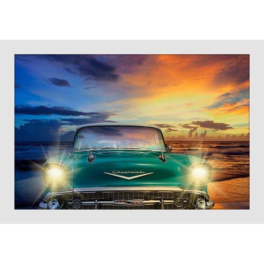 Quadro Decorativo Pequeno Moldura Branca Chevrolet Antigo Verde 30x20cm