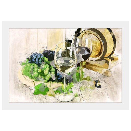 Quadro Decorativo Pequeno Vinho Aquarela Moldura Branca 30x20cm