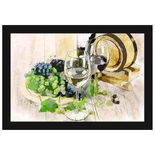 Quadro Decorativo Pequeno Vinho Aquarela Moldura Preta 30x20cm