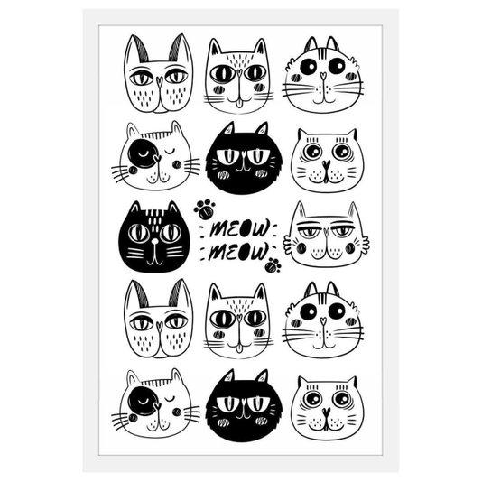 Quadro Decorativo Pet Desenhos de Gatos em Preto e Branco com Moldura Branca 40x60cm