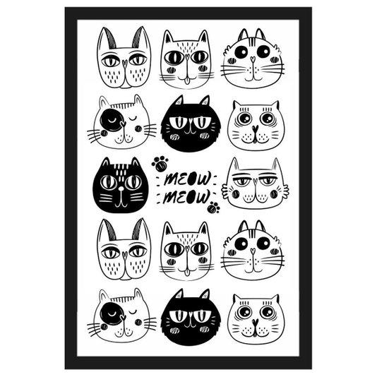 Quadro Decorativo Pet Desenhos de Gatos em Preto e Branco com Moldura Preta 40x60cm