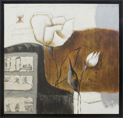 Quadro Decorativo Pintura com Texura e Relevo em Tela 100x100cm