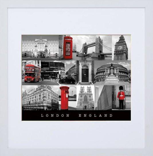 Quadro Decorativo Pontos Turísticos de Londres Inglaterra 70x70cm