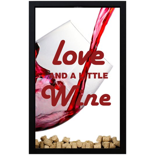 Quadro Decorativo Porta Rolhas Love And A Little Wine 28x43x5cm