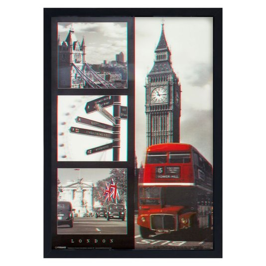 Quadro 3D Alguns Pontos Turísticos de Londres Inglaterra 50x70cm