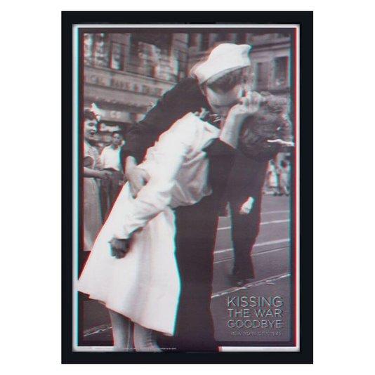 Quadro 3D Famoso Beijo no Fim da Segunda Guerra Mundial 50x70cm