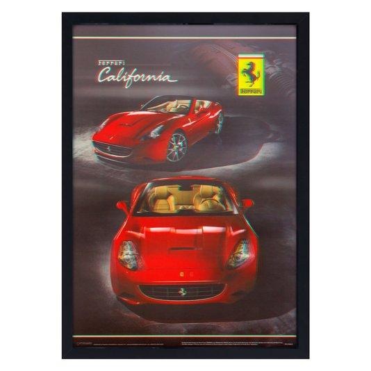 Quadro Decorativo Poster 3D Ferrari California Vermelha 50x70cm