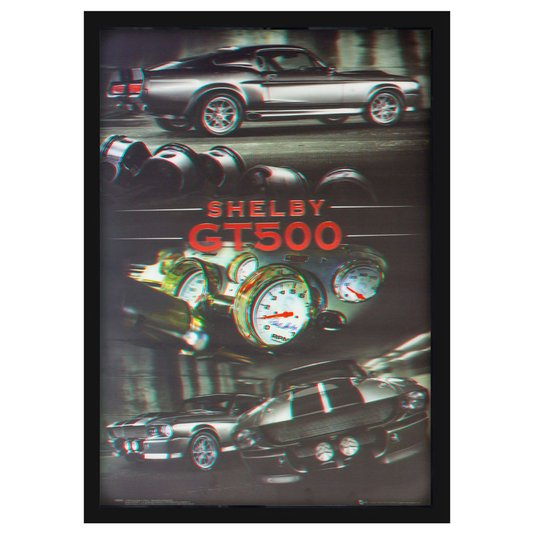 Quadro Decorativo Poster 3D Ford Shelby GT-500 Prata 50x70cm