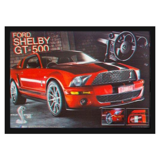 Quadro Decorativo Poster 3D Ford Shelby GT-500 Vermelho 70x50cm