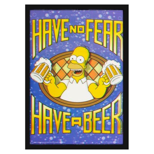 Quadro 3D Homer Simpson Não Tenha Medo, Beba uma Cerveja 50x70cm
