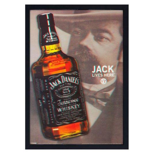 Quadro Decorativo Poster 3D Jack Daniels Lives Here 50x70cm